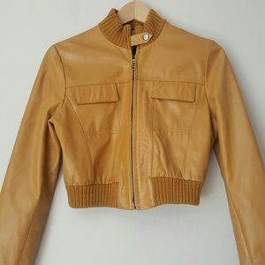Guess Collection leather cropped bomber jacket